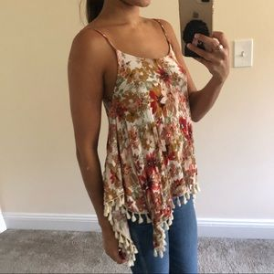 Floral top with fringe detail